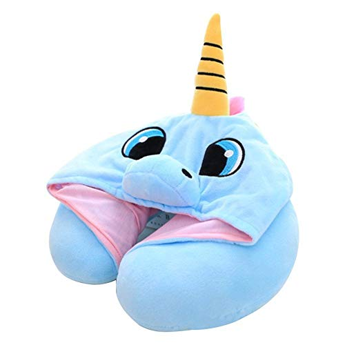 Unicorn Neck Pillow for Airplane Travel | Adults & Kids Travel Pillow (Blue)