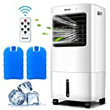 COSTWAY Evaporative Cooler, 3-in-1 Cooler, Fan and Humidifier with 7.5H Timer, 4 Speeds and 3 Modes, Remote Control, Portable Air Cooler with 4 Wheels, 2 Ice Boxes for Home Bedroom Office