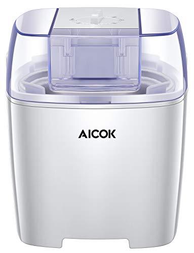 Aicok Ice Cream Maker, Frozen Yogurt and Sorbet Machine, 1.6 Quart, White