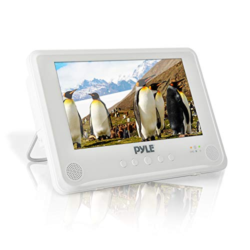 Portable Waterproof Multimedia Disc Player - 9inch Screen White Digital Audio Video Player w/ Dual Stereo Speakers, CD DVD Tray, RCA, USB, Rechargeable Battery, Headphone, Remote - Pyle PLMRDV94
