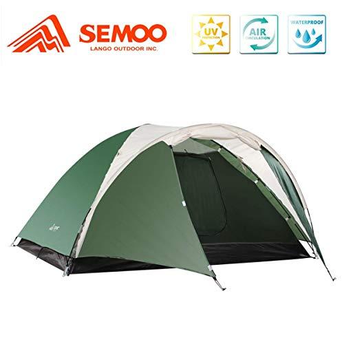 SEMOO Tente de Camping familiale 3 Personnes, Imperméable, 3 Saisons, Double Couche, Tente dôme, Verte