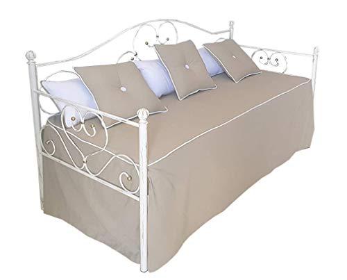 Divano letto in ferro battuto con doghe Sogno bianco oro