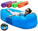 FANCYOUT Fast Inflatable Air Lounger, Portable Air Sofa Hammock, Waterproof Air Pouch with Leakproof Design, Lightweight Air Couch for Backyard/Beach/Traveling Camping Picnic (Blue-air Lounger)