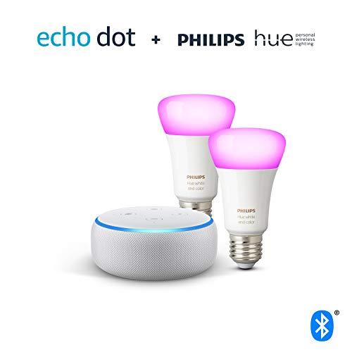 41Mb4cPSr1L Bon Plan Hue !  Echo Dot (3ème génération), Tissu sable + Philips Hue White & Color Pack de 2 ampoules LED connectées (E27), compat...