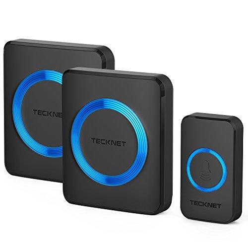 TECKNET Campanelli Wireless, Campanello Senza Fili Portatile Wireless Doorbell, 52 Suonerie, Indicatori LED, 300M Operativo a Grande Distanza, 4 Volumi Selezionabili (1xTrasmettitore e 2X Ricevitore)