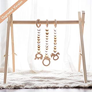 Baby gym frame is made of unfinished pine wood, sanded to be smooth. Free of any chemicals. Comes with wooden ring hanging, also a baby teether! This Montessori toy encourages early motor skills while giving infants something to hold and manipulate. ...