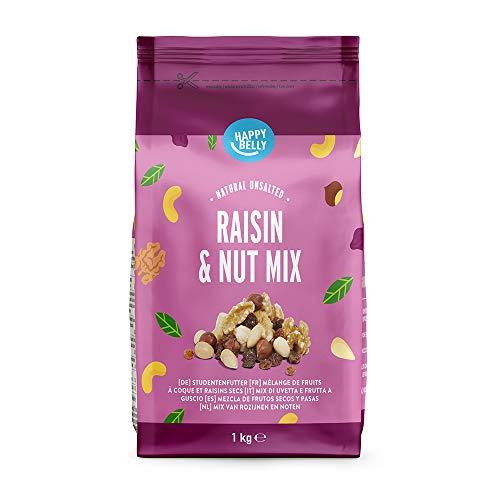 Marca Amazon - Happy Belly Mezcla de frutos secos y pasas, 1000 g