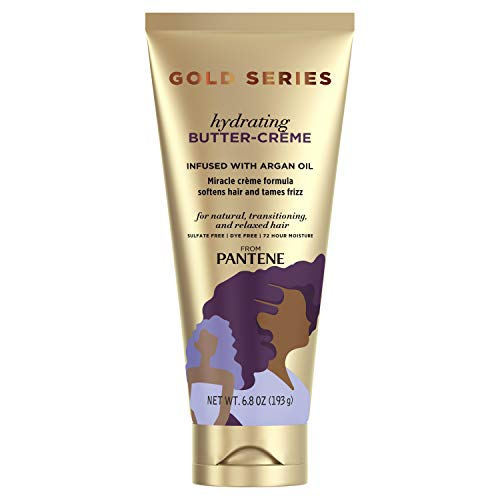 Gold Series, Butter Crme Hair Treatment, with Argan Oil, Sulfate Free, with Argan Oil, Intense Hydrating, from Pantene Pro-V, for Natural and Curly Textured Hair, 6.8 fl oz
