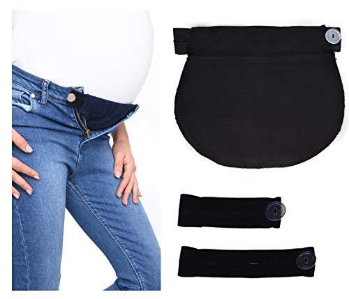 Set di 3: Fascia elastica REGOLABILE cintura Premaman gravidanza 1028 (Nero)