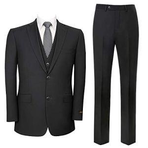 Pio Lorenzo Men's 3-Piece Suit Jacket & Hidden Expandable Waist Pants Big and Tall Tuxedo
