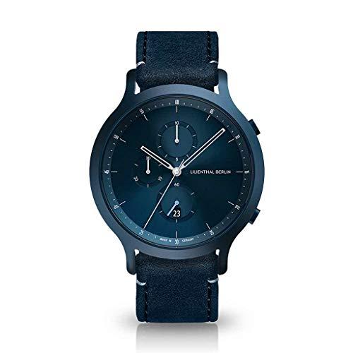 Lilienthal Berlin Chronograph Armbanduhr (Gehäuse: blau/Zifferblatt: blau/Armband: Leder blau)