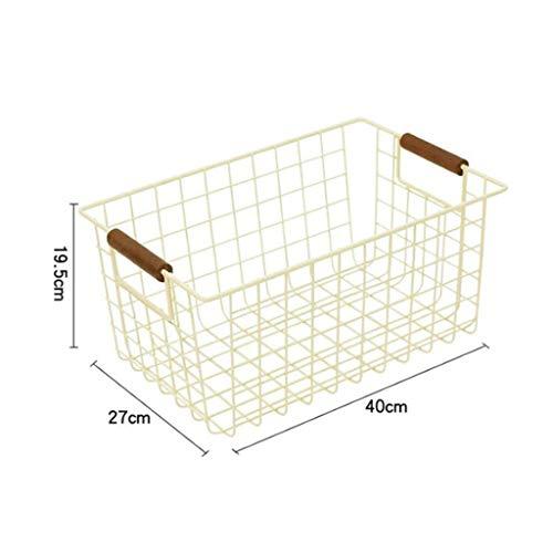 GuanjunLI - Cesto portaoggetti con manici, per cucina, dispensa, congelatore, armadietto large...