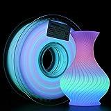 AMOLEN 3D Printer Filament Glow in The Dark Multicolor PLA Filament, 3D Printing Filament Color Change in 10 Meters, 1KG