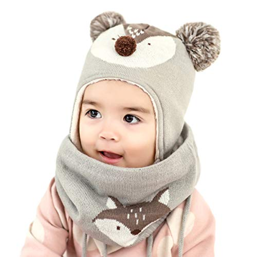 DORRISO Cappello Sciarpe Bambino Invernale Primavera Carina Piccolo Volpe Beanie Cappelli Berretto Bambini Infantili del Cappello per 1-6 Anni Bambino Set di Sciarpe per Berretti