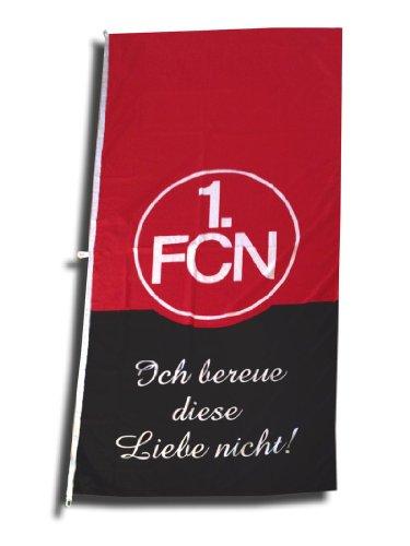 """1. FC Nürnberg FCN Hissfahne Fahne 120cm x 250cm Fanaktion \""""Ich bereue diese Liebe nicht\"""""""
