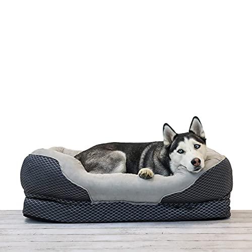 BarksBar Large Gray Orthopedic Dog Bed - 40 x 30...
