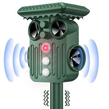 DANGZW Répulsif Chat Exterieur, Ultrason Solaire Répulsif Chat avec Flash LED, IP66 Étanche Ultrason Animaux Solaire pour Chats, Chiens, Oiseaux, Souris, Serpent