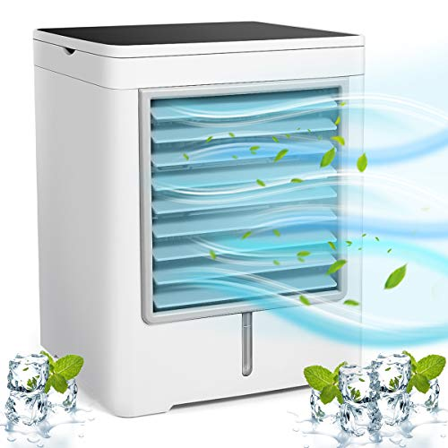 Portable Air Conditioner, Mini Cooler, Personal Space Air Conditioner with USB, Cooling Fan with 3 Different Speeds, Humidifier, Air Purifier, Cooling for Car & Office Household Indoors, Portable AC