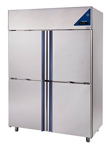 Gastlando - Frigorifero per uso commerciale, in acciaio INOX, ad aria, 1400 litri, 4 ante in acciaio...