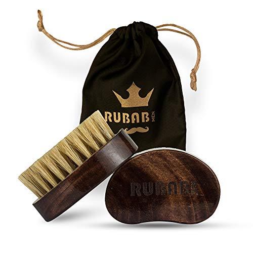RUBAB MEN Travel Friendly 100% Boar Bristle Beard Brush for Men