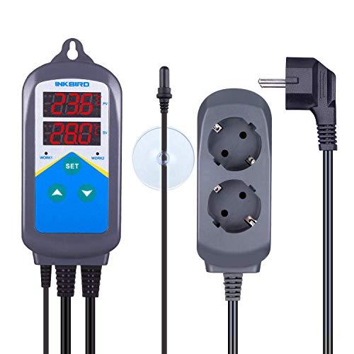 Inkbird ITC-306T Prise Thermostat Chauffage Sonde TPE Jour Nuit Regulateur de Temperature 2 Relais 220V pour Aquarium Chauffe Eau,Terrarium,Pompe Brassage,Chauffage Piscine,Serre(ITC-306T+Sonde TPE)