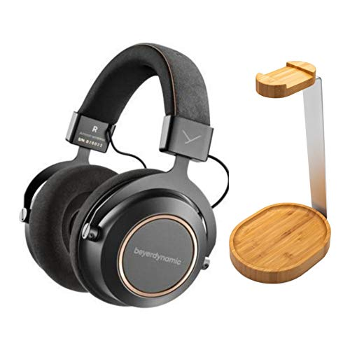 beyerdynamic Amiron Wireless Copper Bluetooth Headphones with Wooden Stand (Bamboo Brown) Bundle (2 Items)