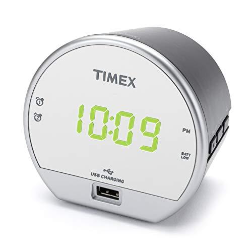 Timex Dual Digital Alarm Clock, USB Charger, Mirror Finish Green LED Display with Dimmer, Battery Backup for Bedrooms, Bedside, Desk, Shelf, Snooze Adjustable Sleep Timer Dual Alarm. (T1212)