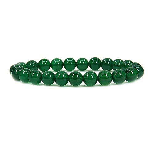 Angelstones Green Agate Gemstone 8mm Round Beads Stretch...