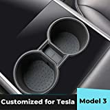 EVAUTO Tesla Model 3 Cup Holder Insert Centre Console Silicone Water Cup Holder Bottle Holder Interior Tesla Accessories-Black