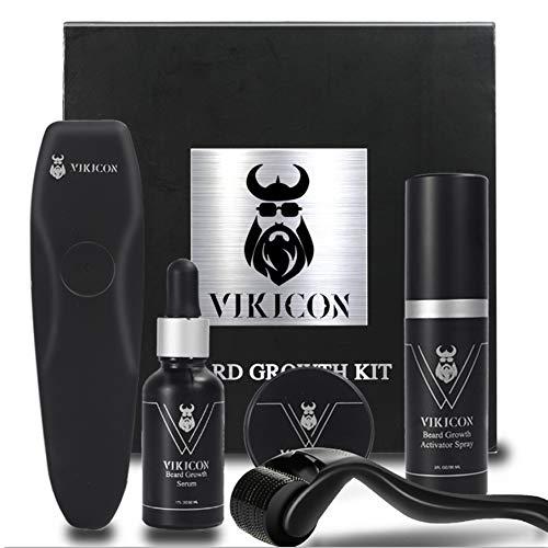 VIKICON Beard Growth Kit, Crescita Barba, Dermaroller con 540 Aghi, Spray per la Crescita Della Barba, Siero per la Crescita Della Barba, Balsamo per Barba, Regalo per gli Uomini