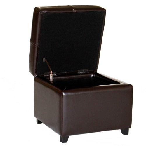 Baxton Studio Leather Storage Ottoman, Dark Brown