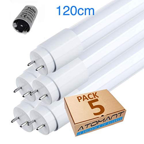 LED Atomant Pack 5X Tubo LED 120 cm 18w, 360 Grados, 18 W, Blanco Frio (6500K)