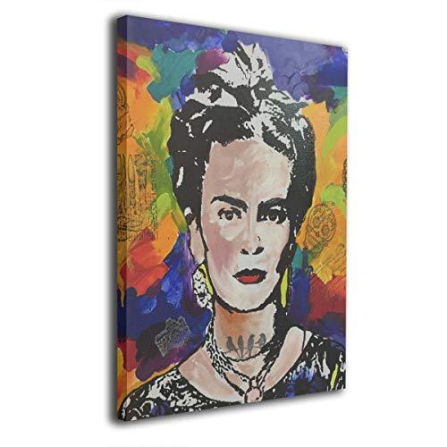 Pintura C Frida Kahlo Mexicana Folk Wall Art Paintings Paisaje Canvas Prints Ninguno Marco Listo para Colgar para salón recámara Decor 16 x 20 Pulgadas, Madera, Blanco, Talla única