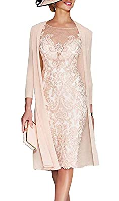 Mother of The Bride Dresses with Chiffon Jacket Lace Appliques Sleeves Tea Length Beaded for Women Occasions: Suitable for Special Occasion, Mother of The Bride Dresses Tea Length for Wedding, Petite Formal Dresses for Women, Wedding Dresses for Brid...