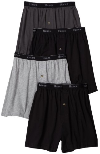 Hanes Men's 4-Pack Classics Comfort Soft Waistband Solid Knit Boxer Underwear, Assorted, Large