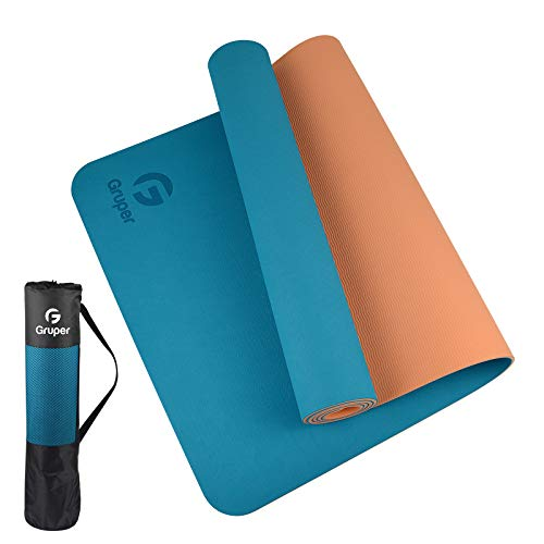 Gruper TPE Yoga Mat,Pro Yoga Mat Eco Friendly Non Slip Fitness Exercise Mat with Carrying Strap,Workout Mat for Yoga, Pilates and Floor Exercises 183 x 61 x 0.6CM