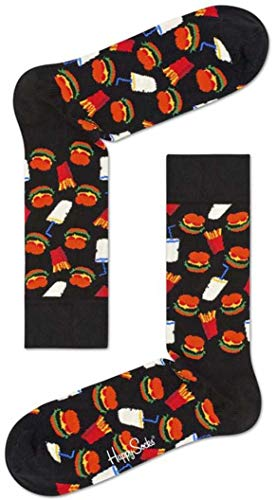 Happy Socks Hamburger Sock, Calzini Donna, Nero (Schwarz 9000), Taglia 36-40