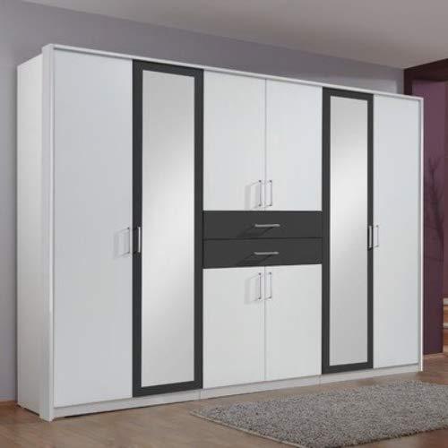 Wimex 450548 Kleiderschrank  Diver, Weiß, Abs. Anthrazit, 270 cm Breite