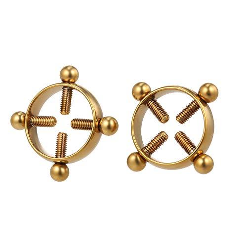 Lebeaut 1 Paar Nicht Piercing Einstellbare Nippel Ringe für Frauen Kreis Nippelklemmen EJSDCDElstahl Körper JSDCDEkor mit Schrauben