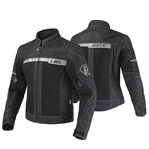 SSPEC バイク用 デニム メンズ スタンドカラー ジャケット オールシーズン通用 プロテクター付き 春 夏 秋用(ブラックL)