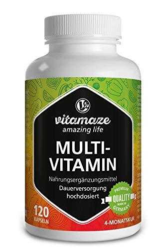 Vitamaze® Multivitamines en capsules à fort dosage, 23 vitamines A-Z & minéraux, substances minérales et oligo-éléments précieux, 120 capsules végétales pendant 4 mois sans additifs