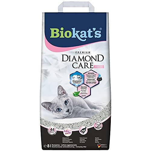 Biokat's Diamond Care Fresh, arena para gatos con fragancia – Arena aglomerante para gatos: de alta calidad, con carbón activo y aloe vera – 1 bolsa de papel (1 x 8 l)