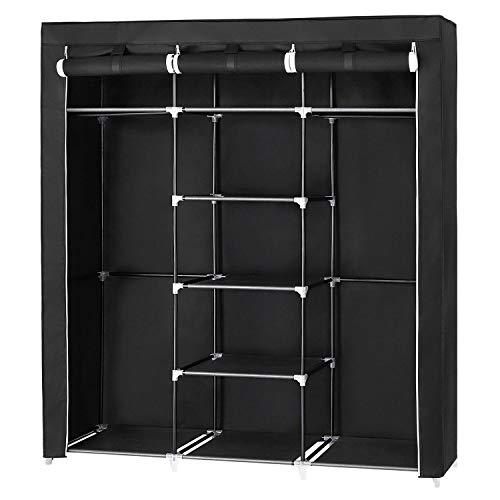 SONGMICS großer Kleiderschrank, Stoffschrank XXL, Faltschrank mit 2 Kleiderstange, 175 x 150 x 45 cm, mit drei hochrollbaren Türen, schwarz RYG12B