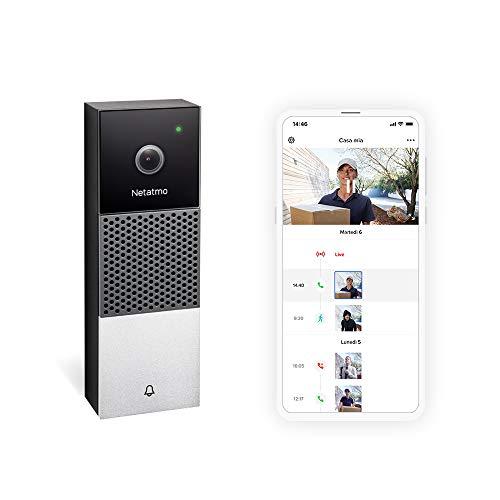 Netatmo Intelligente Türklingel mit WLAN-Kamera, HD 1080p, bidirektionale Kommunikation, Personenerkennung, Keine Abonneierung, Infrarot-Nachtsicht, wasserdicht, für den Außenbereich, NDB-IT