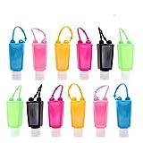 Botellas de viaje de plástico, 12 unidades, 30 ml, a prueba de fugas, contenedor de líquidos con tapas abatibles, perfectas para niños desinfectantes de manos