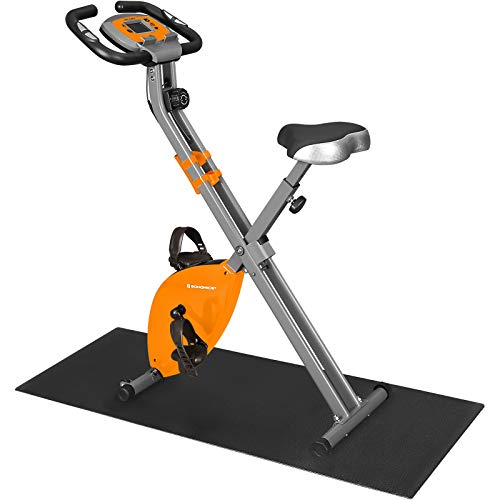 SONGMICS Exercise Bike, Fitness Bicycle, Foldable Indoor Trainer, 8 Magnetic Resistance Levels, with Floor Mat, Pulse Sensor, Phone Holder, 100 kg Max. Weight, Orange SXB11OG