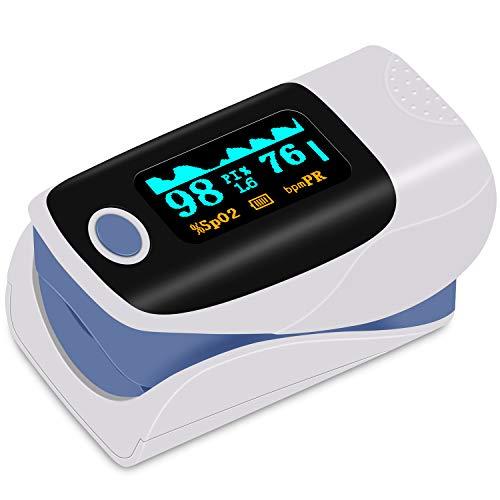 kungfuren Pulsossimetro da dito, OLED Fingeroximeter saturazione dell'ossigeno Misuratore Dito con Allarme e Funzione Auto off Oximetro Portatile per SpO2 e frequenza cardiaca