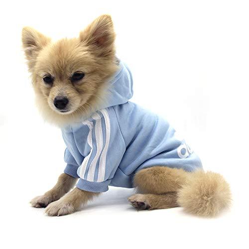 QiCheng&LYS Hundemantel Adidog Hund Hoodies Kleidung, Pet Puppy Katze Niedlicher Baumwoll Warm Hoodies Coat Pullover (L, blau)