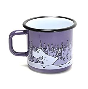 Come away to Moomin Valley with this adorable enamel mug A beautifully made enamel mug from Muurla, perfect for holding raspberry juice (Moomin's favourite)! Decorated with a charming illustration of Moomintroll & Groke Bring a bit of the whimsical w...