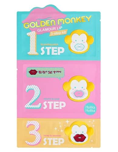 Holika Holika - Kit de 3 passos para lábios perfeitos, Golden Monkey Glamour Lip 3 passos, 1 unidad